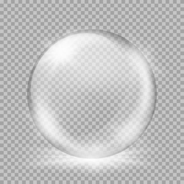 Empty snow globe. Big white transparent glass sphere with glares and, bursts, highlights. Vector illustration with gradients and effects. Winter background for your design and business clip art vector