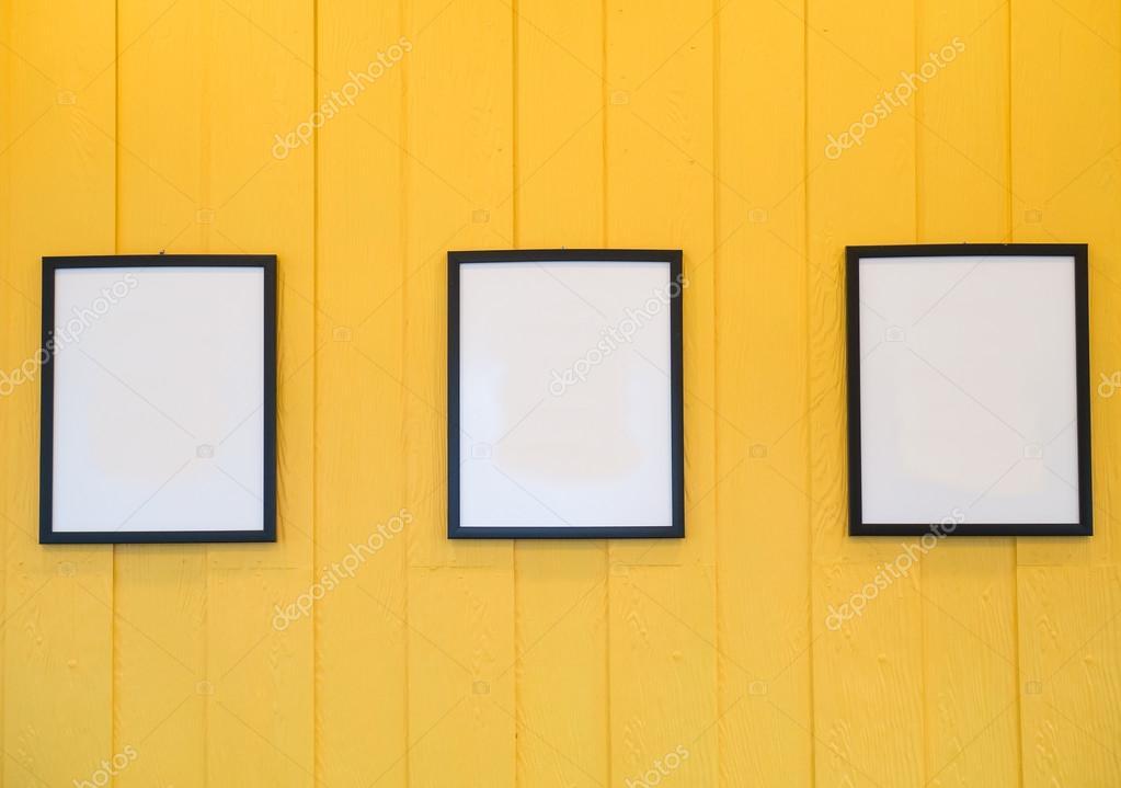 Three frames on yellow background — Stock Photo © jpanudda #86422622