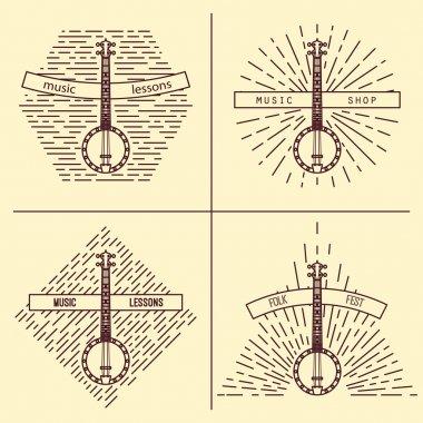 Banjo logotype. Vintage styled vector illustration. Vector clip art. Retro design element for music store packaging, studio or t-shirt design.