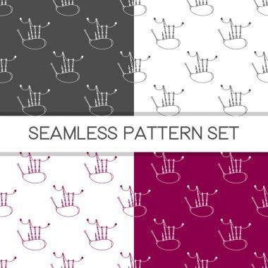 Four seamless vector patterns in different colors. Music background with bagpipes vector outline illustration. Design element for music store or studio packaging or t-shirt design.