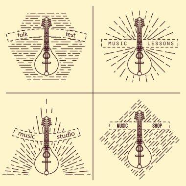 Mandolin logotype. Vintage styled vector illustration. Vector clip art. Retro design element for music store packaging, studio or t-shirt design.