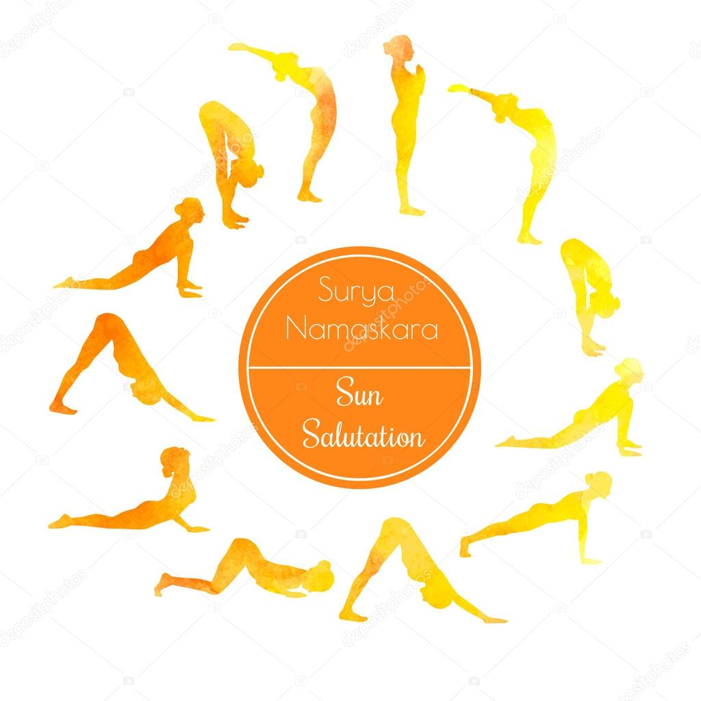 Yoga Exercise Sun Salutation Stock Vector