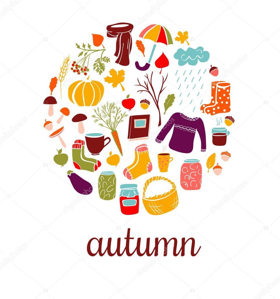 Set of vector doodles Autumn symbols.