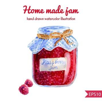 Hand drawn illustration of raspberry jam jar.