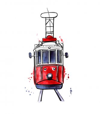 Vector Istanbul tram with colorful stains
