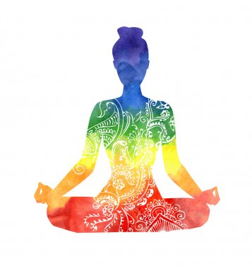 lotus pose in rainbow colors