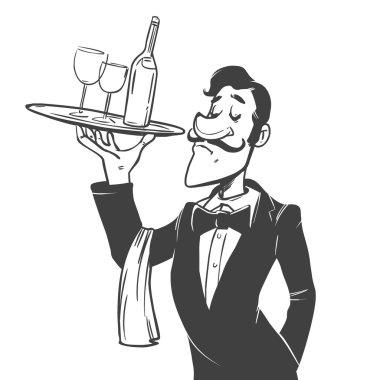 waiter man cartoon