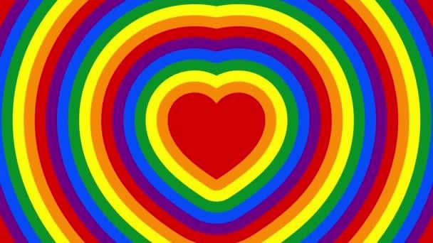 Duhové srdce, používané jako symbol pýchy hnutí lesbiček, gayů, bisexuálů a transsexuálů LGBTQ. Animace zářícího srdce barev LGBT. Pulzující srdce v barvě LGBTQ