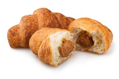croissants on a white background, croissants with condensed milk on white background