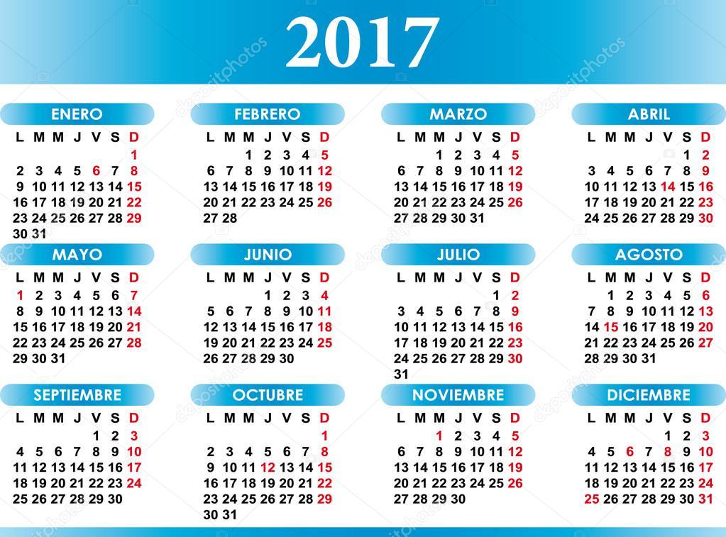 Photography Calendar 2017 : Spaanse kalender met festiviteiten — stockvector