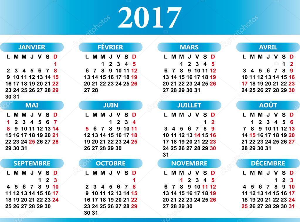 Calendario Frances.Calendario Frances 2017 Com Festividades Vetores De Stock