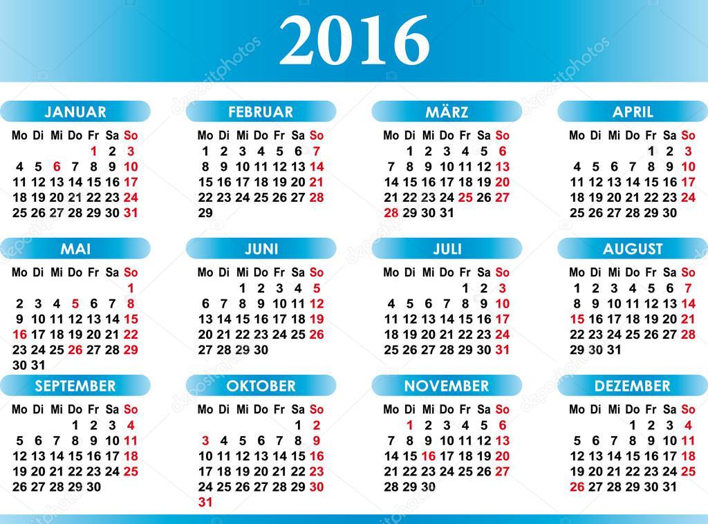 deutsch naptár Deutsch Kalender 2016 német naptár 2016 — Stock Vektor © baodart  deutsch naptár