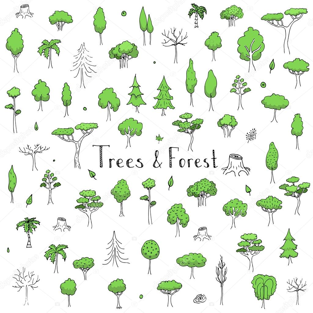 Trees and Forest icons set