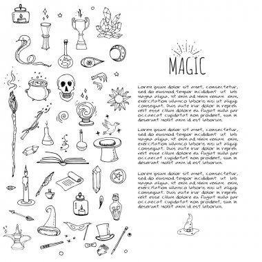 Hand drawn doodle Magic set Vector illustration wizardy, witchcraft symbols Isolated icons collections Cartoon sorcery concept elements Magic wand Love potion Fairy book Fairy tale Snake Crystal ball stock vector