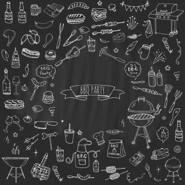 Hand drawn doodle BBQ party icons set Vector illustration summer barbecue symbols collection Cartoon various meals, drinks, ingredients and decoration elements on white background Sketch stock vector