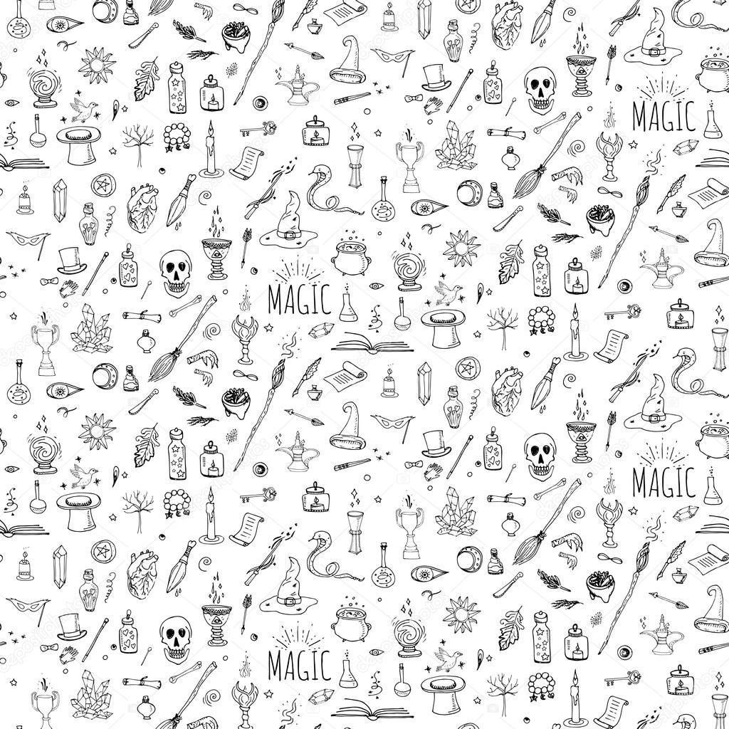 Magic icons set stock vector natashapankina 119621100 wizardy witchcraft symbols and elements wand love potion fairy book tale snake crystal ball vector by natashapankina biocorpaavc