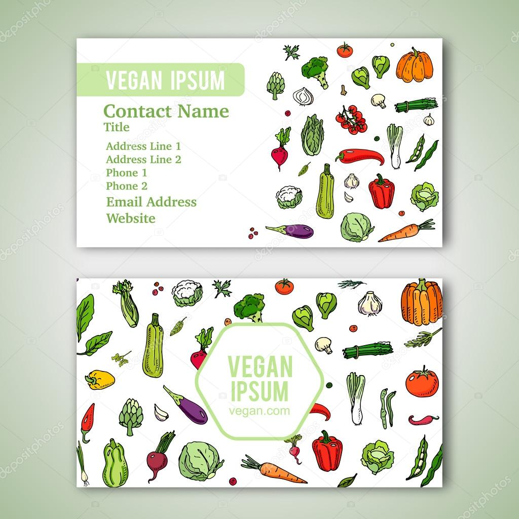 Business card template stock vector natashapankina 119621218 business cards template with hand drawn doodle vegetables icons for vegan shop or restaurant vector illustration cartoon various types of seasonal veggie reheart Choice Image