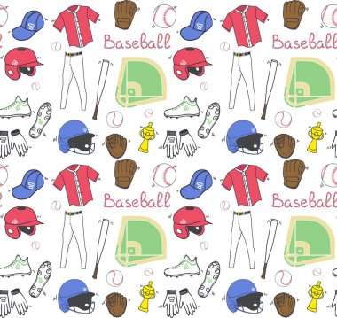Baseball set seamless background