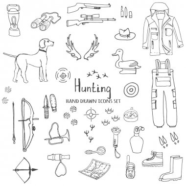 hand drawn doodle hunting set