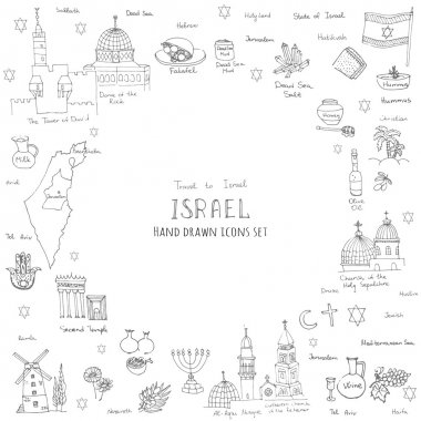 hand drawn Israel icons