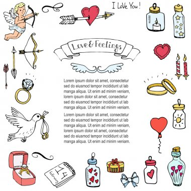 Hand drawn doodle Love and Feelings collection. Vector illustration. Sketchy Love icons. Big set of icons for Valentine's day, Mothers day or wedding clip art vector