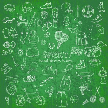 Hand drawn doodle sport set.
