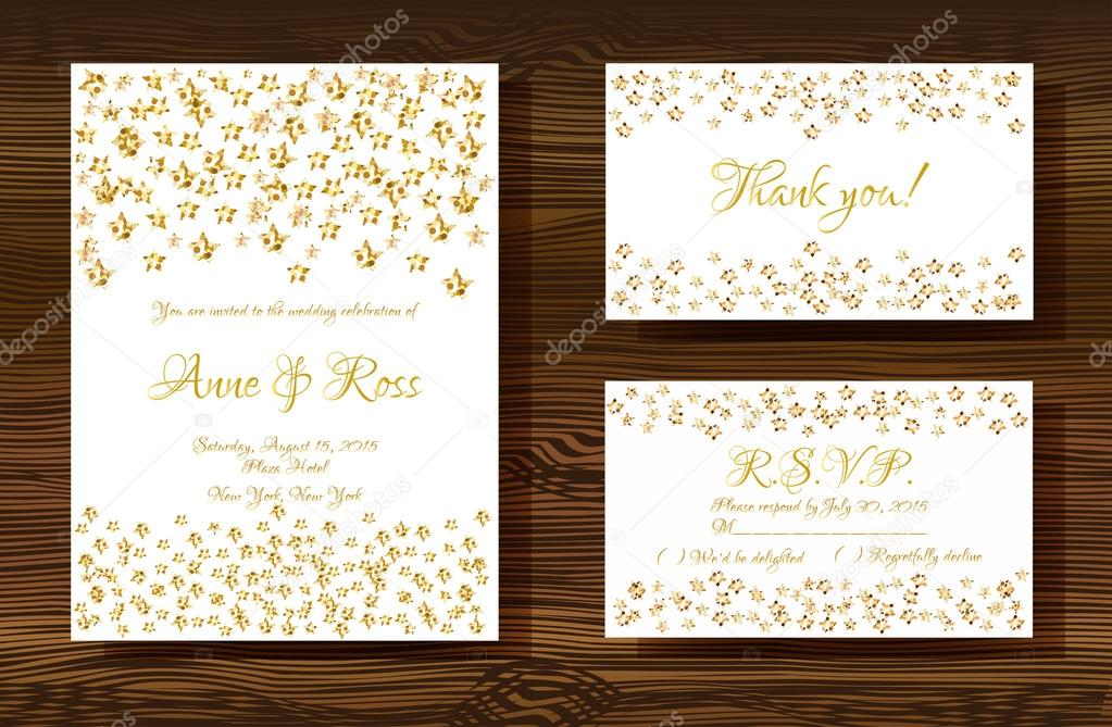 Wedding Cards With Gold Glitter Texture Grafika Wektorowa