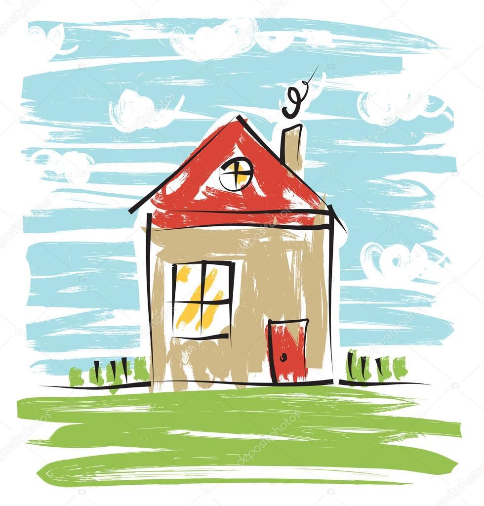 casa colorida desenho de crianças vetor de stock reuki 78099266