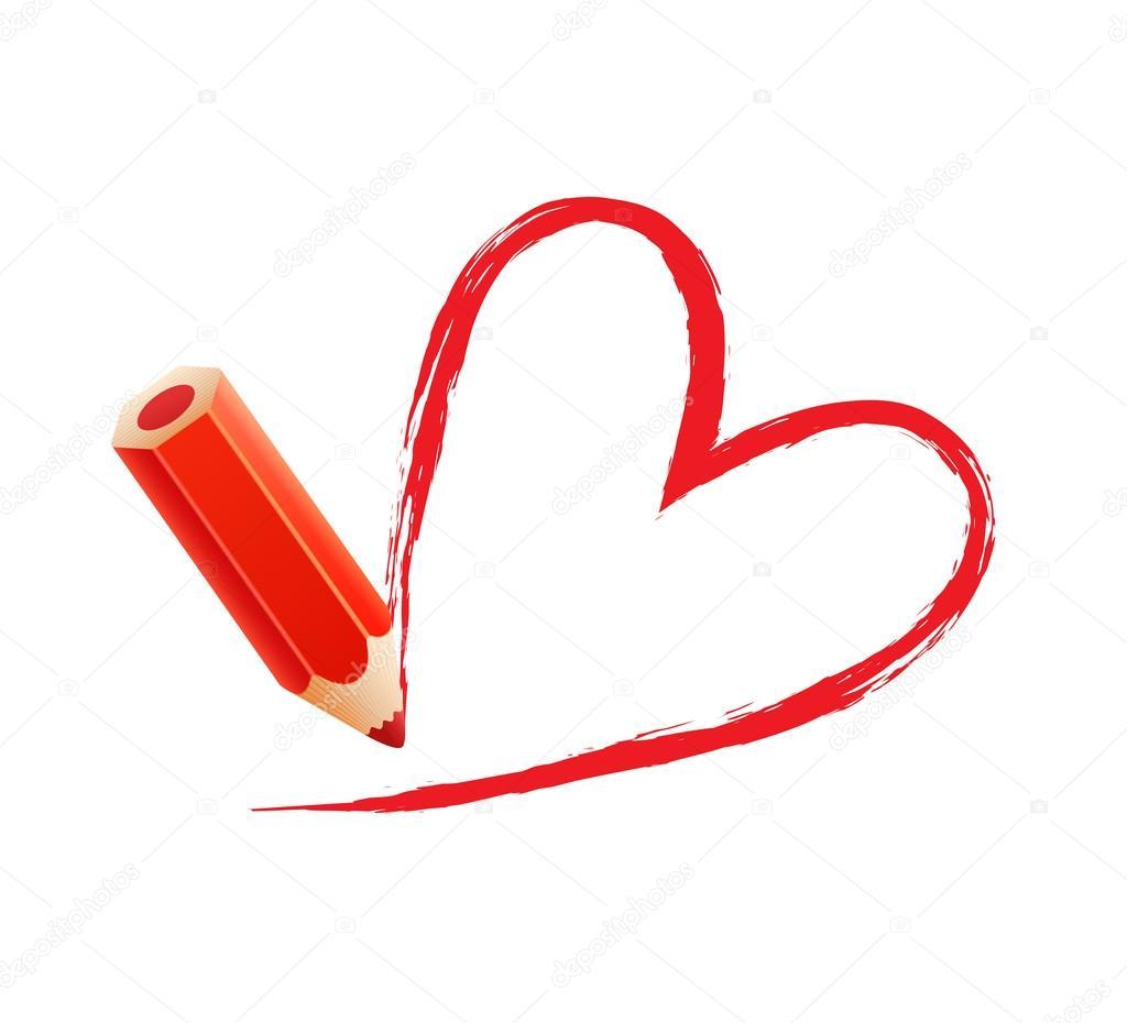 Corazón Pintado Con Lápiz De Color. Ilustración De Vector