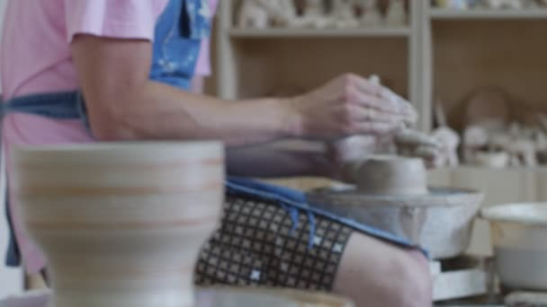 Potter Is Rotating A Wheel Making A Vase Pot Working On A Pottery