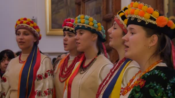 Dormition Cathedral Holy Mountains Lavra Girls Five Young Women in National Clothes Women Are Singing Christmas Songs Ukraine Christmas Celebration