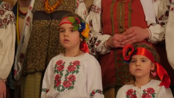 Dormition Cathedral Christmas Kids Happy Women National Clothes Holy Mountains Lavra Folk Singing Group Celebration Singing Christmas Songs Ukraine