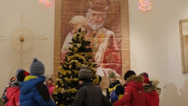 Kids Are Dancing Excursion House of Saint Nicholas Kiev-Pechersk Lavra Celebration of the Saint Nicholas Day Kiev Ukraine Kids Are Dancing a Round Dances