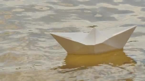 Ship Made of White Paper is Floating by Water Childish Amusement Game Dream Surface Loneliness Solitude Hope For Survival Paper Ship on a River Sunny