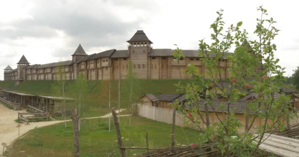 Fortress on The Hill, Apple Tree Branches With Red Apples, Ancient Wooden Structures 10-11 Centuries, Kievan Russ, Reconstruction