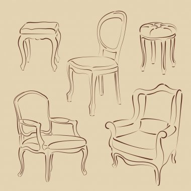 Set of sketched armchairs and chairs.