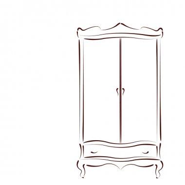 Sketched vintage wardrobe.