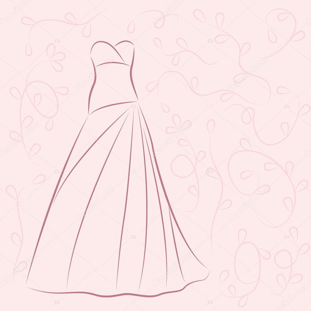 9aab666684603 Antika arka plan üzerinde elbise düğün davetiyesi süslenmiş — Siberica -  Vektör