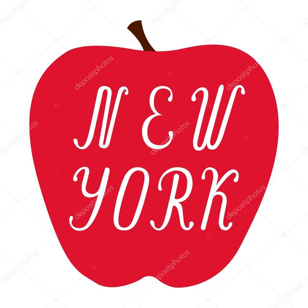 Letras de Nueva York en una manzana roja grande — Vector de stock ...