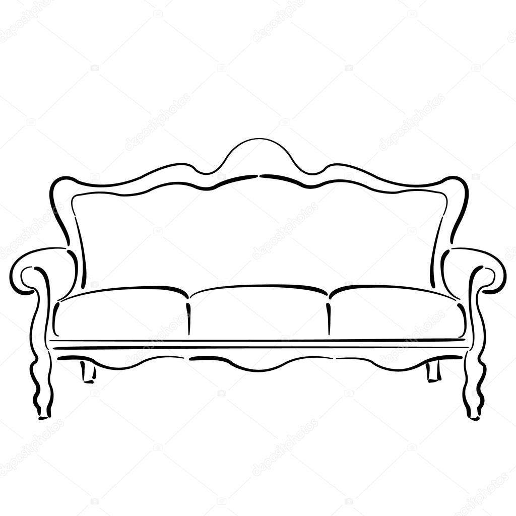 Sofa gezeichnet  Sofa Couch. Sofa-Skizze-Abbildung — Stockvektor #97360158