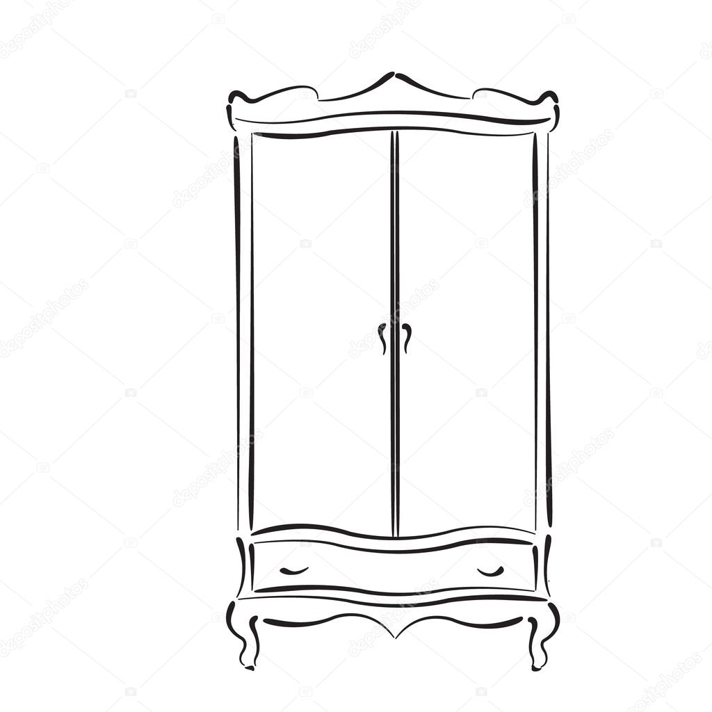 Wardrobe clipart black and white  Sketched vintage wardrobe isolated on white — Stock Vector ...