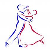 Fényképek Dancing couple logo isolated on white background.