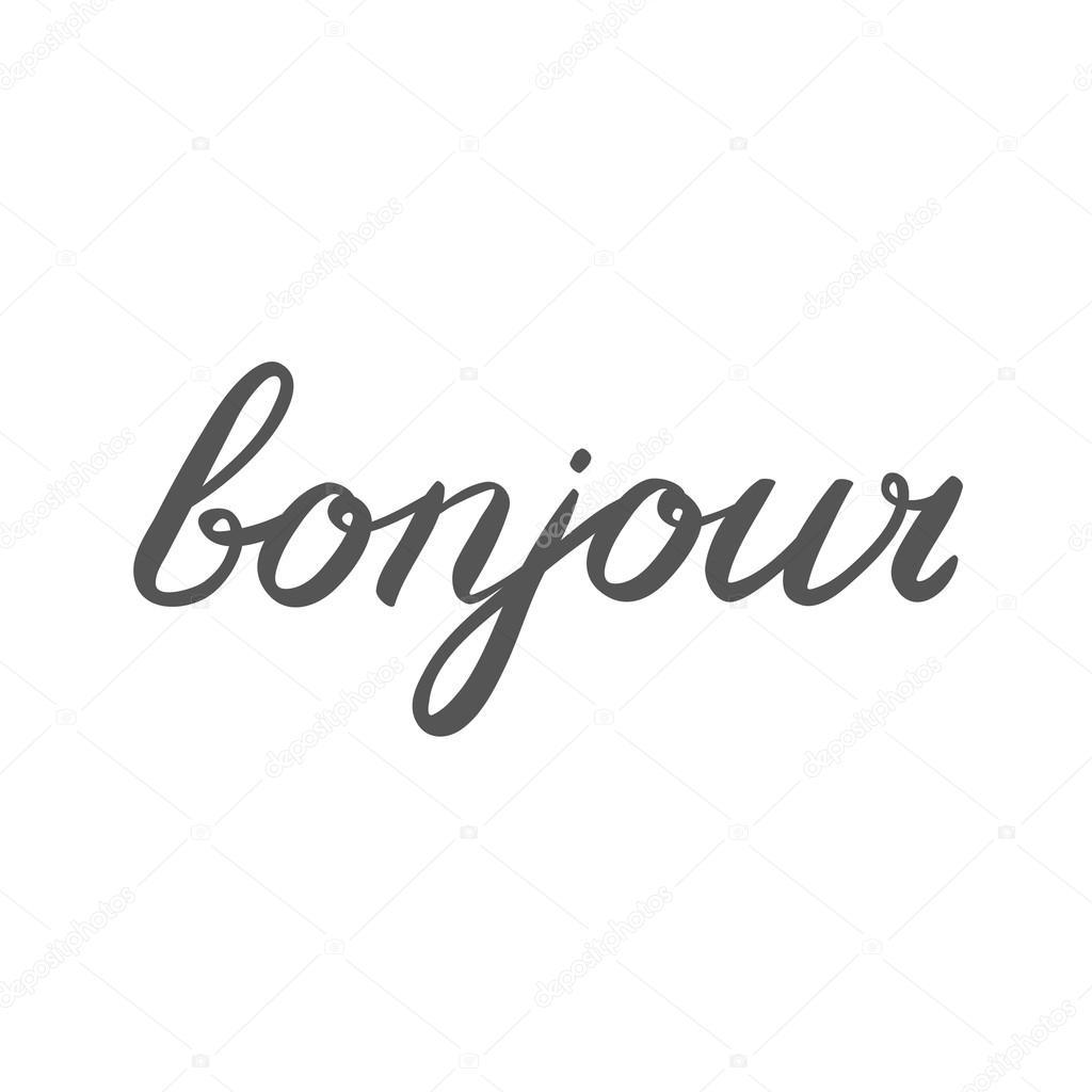 Bonjour Palavra Manuscrita Bom Dia Em Francês