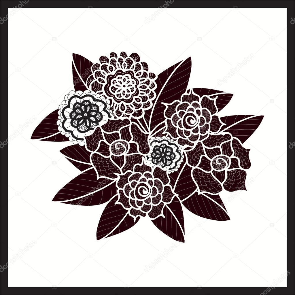 Beautiful Doodle Art Flowers Zentangle Pattern Hand Drawn Herbal