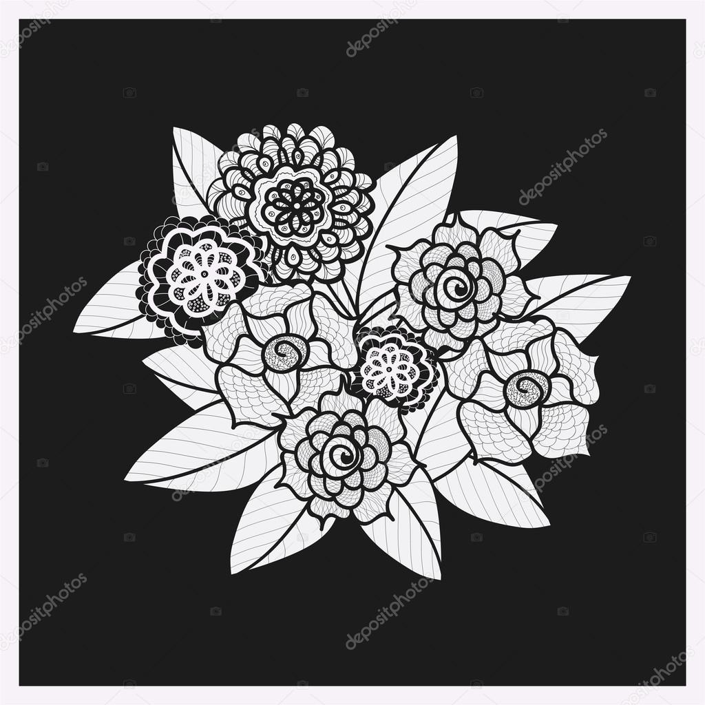 Beautiful doodle art flowers. Zentangle pattern. Hand drawn herbal design element. Floral black and white illustration. Isolated lace ornament on black background.