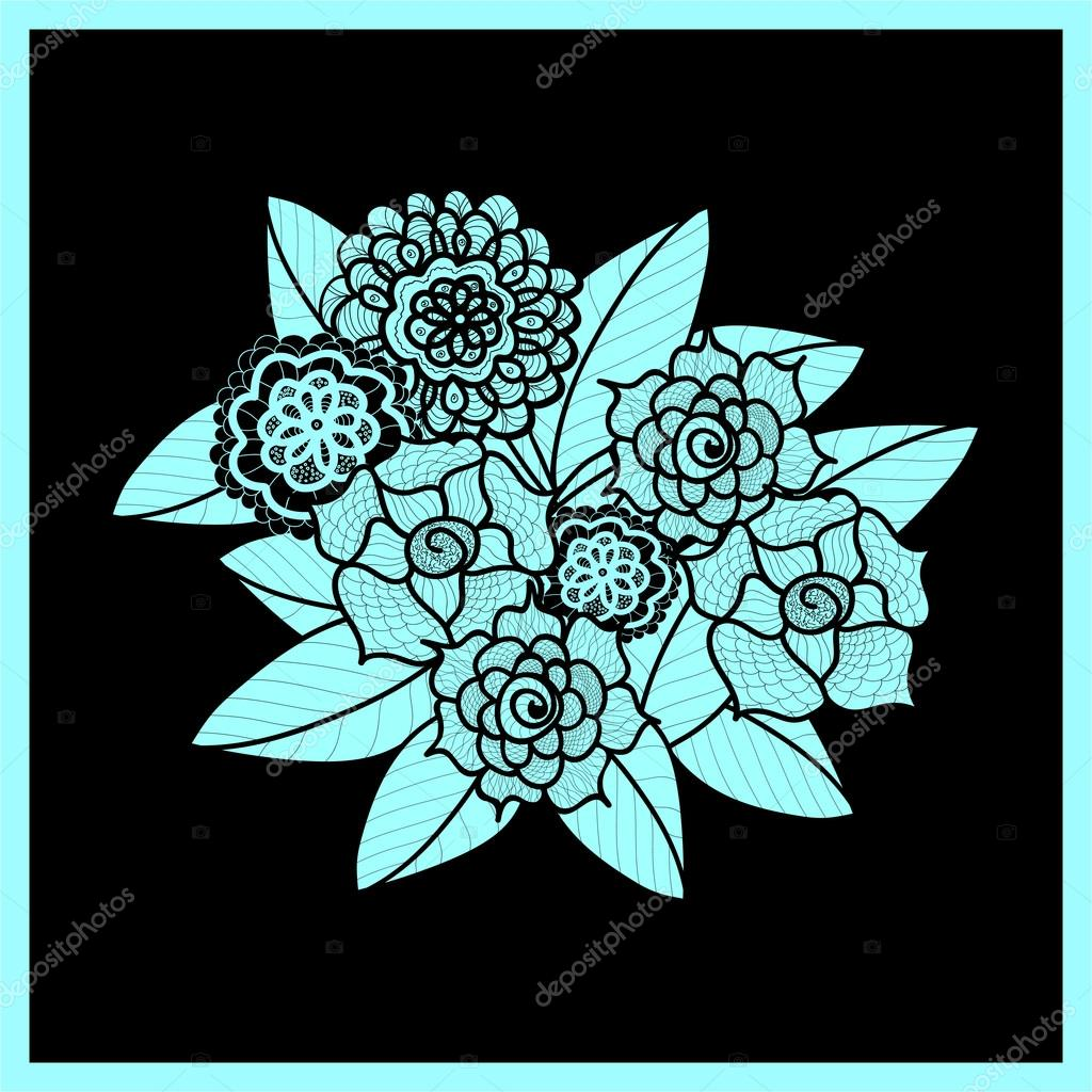 Beautiful doodle art flowers zentangle pattern hand drawn herbal beautiful doodle art flowers zentangle pattern hand drawn herbal design element floral black and blue illustration isolated lace ornament on black dhlflorist Images