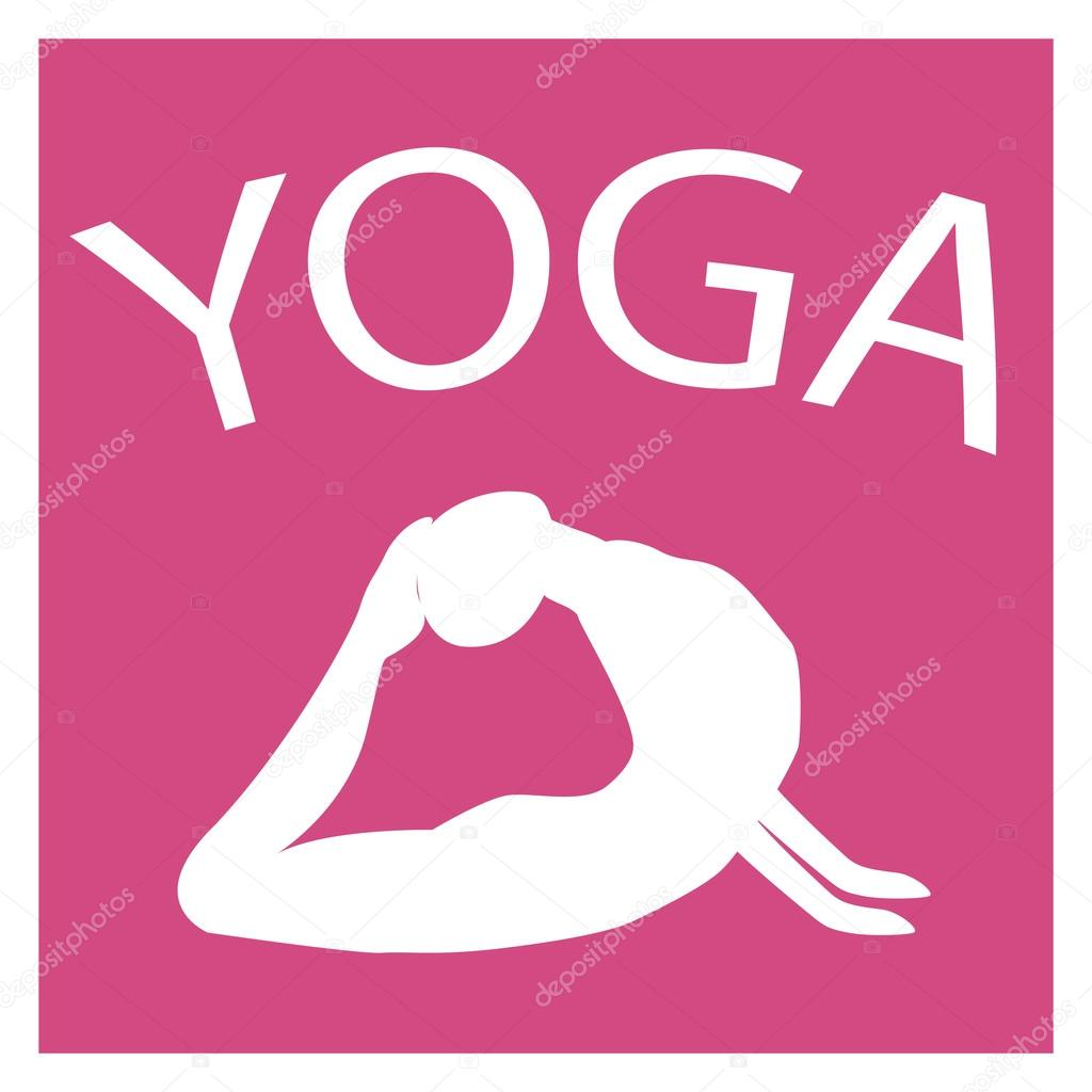 Girl In Yoga Position White Female Silhouette On Pink Background Vector Woman Shape Icon