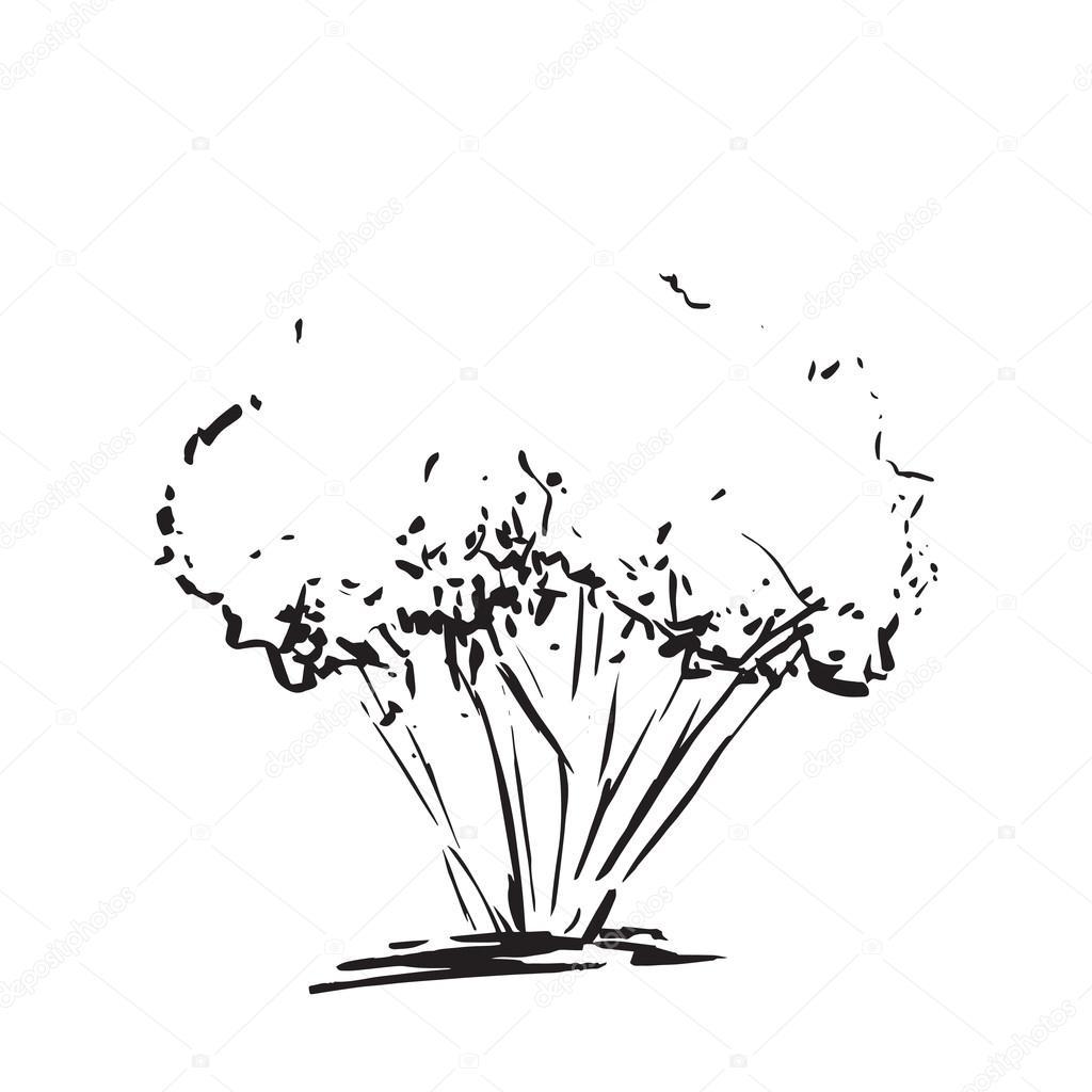 stilisierter baum. hand gezeichnet. schwarzer baum skizze silhouette