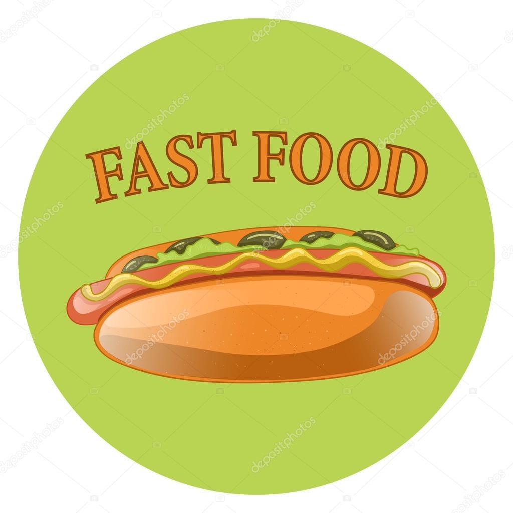 Perro caliente ilustración de dibujos animados. Clásica comida ...
