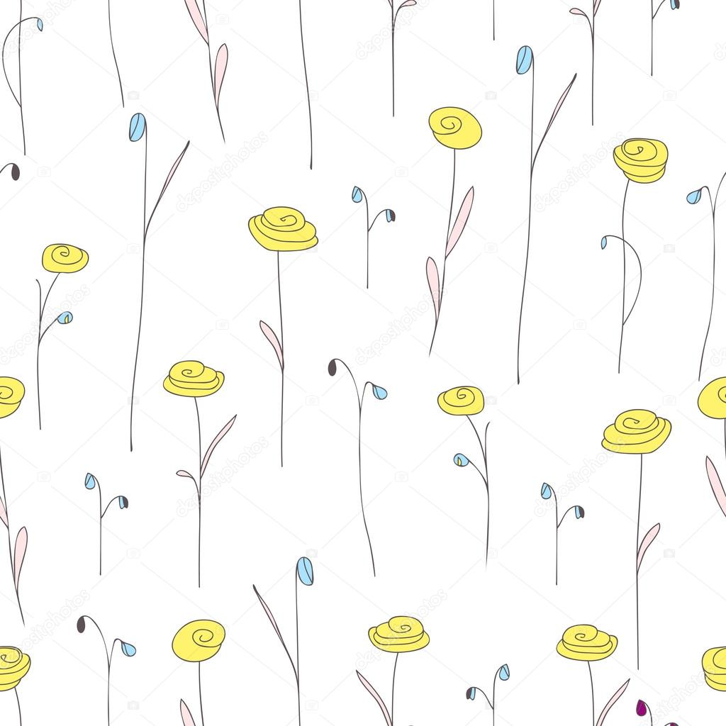 Seamless Pattern With Cute Yellow Flowers White Background With
